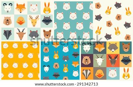 cute animals vector pattern set