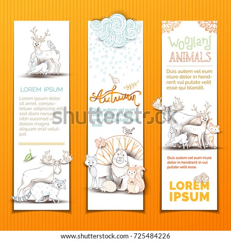 cute animals vertical banners