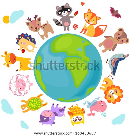 Cute animals walking around globe, Save animals emblem, animal planet, animals world.