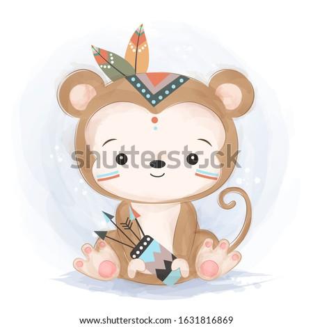 cute animals, watercolor illustration, animals illustration, animal clipart. ストックフォト ©