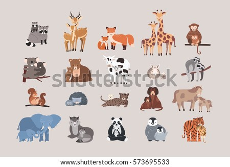 cute animals with babies set. raccoon, deer, fox, giraffe, monkey, koala, bear, cow, rabbit, sloth, squirrel, hedgehog, cat, dog, pony horse, elephant, wolf with cubs. collection flat illustration.