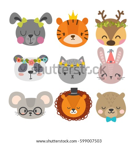 Stock Photo Cute animals with funny accessories. Set of hand drawn smiling characters. Cat, lion, panda, bunny, dog, tiger, deer, mouse and bear. Cartoon zoo. Vector illustration
