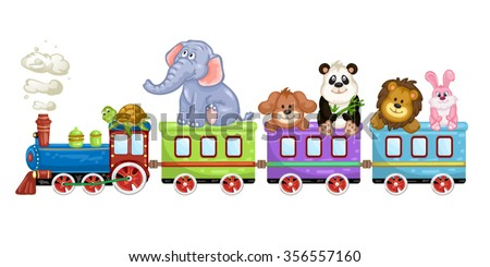 Cute  animals with train over white background.