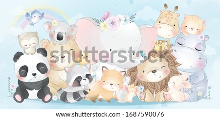 Cute animals with watercolor effect stock photo