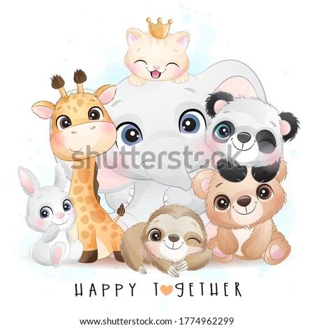Cute animals with watercolor illustration ストックフォト ©