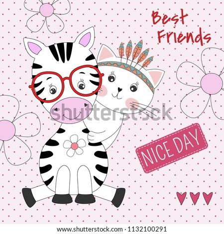 cute animals zebra and cat best