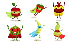 Cute Animated Fruits In Superhero Cloaks Cartoon Character Vector Illustration