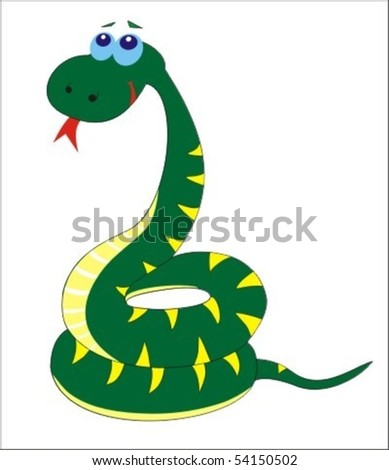 Cute animated green snake