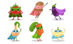 Cute Animated Vegetables In Different Poses Cartoon Character Vector Illustration Set