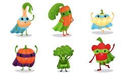 Cute Animated Vegetables In Superhero Cloaks Cartoon Character Vector Illustration
