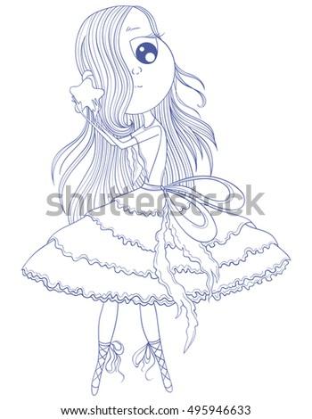 cute anime ballerina in tutu