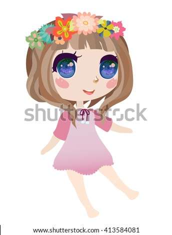 cute anime chibi girl with