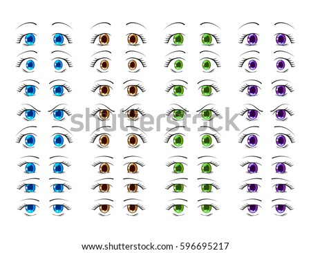Cute Anime Eyes In Manga Style Showing Various Human Emotions Vector Illustration