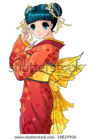 cute anime girl in kimono
