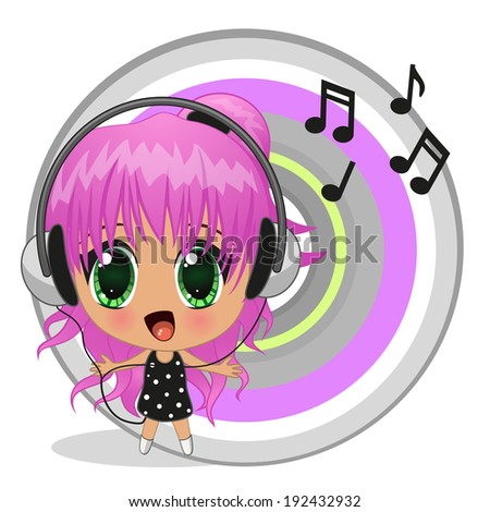 cute anime girl with headphones