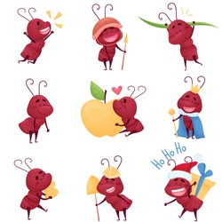 Cute Ant Character Carrying Grass Blade and Embracing Apple Vector Illustrations Set