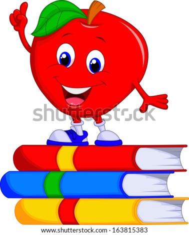cute apple cartoon pointing its