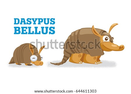 Cute armadillo family. Vector illustration of pleistocene baby, young and adult wild animals armadillo.
