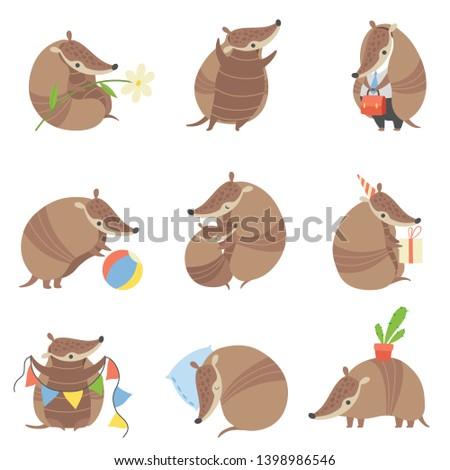 Cute Armadillos Set, Adorable Pleistocene Animals Cartoon Characters in Various Situations Vector Illustration