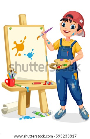 cute artist little boy painting