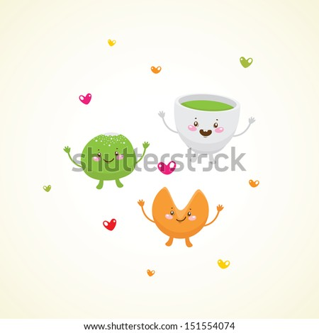 cute asian tea party  green tea