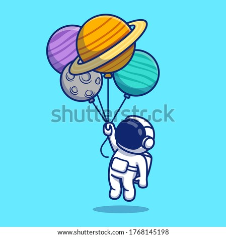 Cute Astronaut Floating With Planets Cartoon Vector Icon Illustration. Space Icon Concept Isolated Premium Vector. Flat Cartoon Style