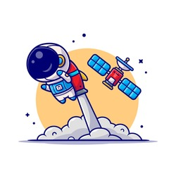 Cute Astronaut Flying with Rocket and Satellite Cartoon Vector Icon Illustration. Science Technology Icon Concept Isolated Premium Vector. Flat Cartoon Style