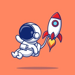 Cute Astronaut Flying With Rocket Cartoon Vector Icon Illustration. People Science Icon Concept Isolated Premium Vector. Flat Cartoon Style