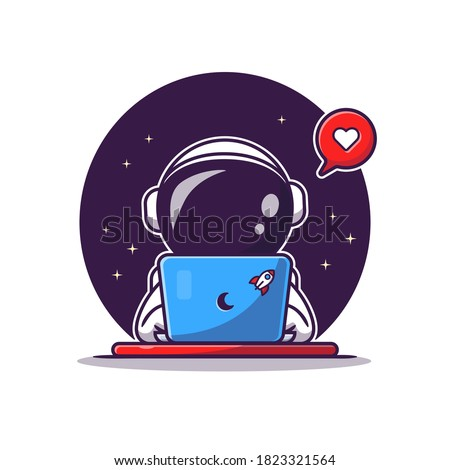 Cute Astronaut Operating Laptop Cartoon Vector Icon Illustration. Science Technology Icon Concept Isolated Premium Vector. Flat Cartoon Style.