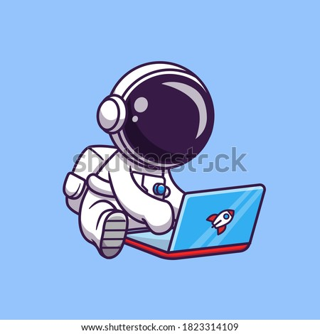 Cute Astronaut Playing Laptop Cartoon Vector Icon Illustration. Science Technology Icon Concept Isolated Premium Vector. Flat Cartoon Style