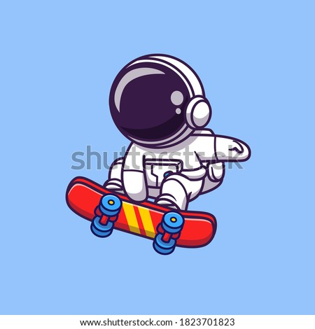 Cute Astronaut Playing Skateboard Cartoon Vector Icon Illustration. Space Sport Icon Concept Isolated Premium Vector. Flat Cartoon Style