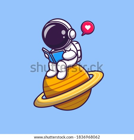 Cute Astronaut Read Book On Planet Cartoon Vector Icon Illustration. Science Technology Icon Concept Isolated Premium Vector. Flat Cartoon Style