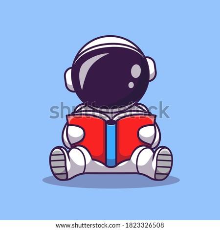Cute Astronaut Reading Book Cartoon Vector Icon Illustration. Space Education Icon Concept Isolated Premium Vector. Flat Cartoon Style