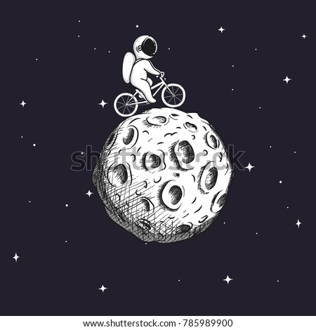 cute astronaut rides on bicycle