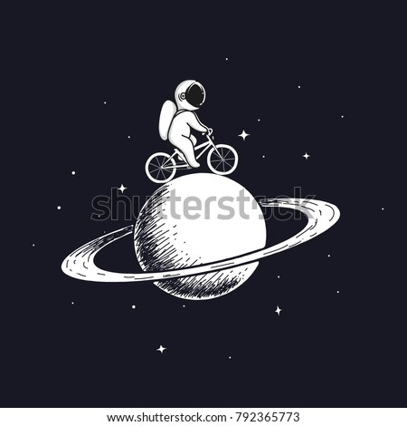 Cute astronaut rides on bicycle at the Saturn.Prints design.Childish vector illustration