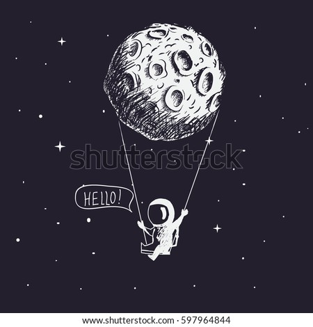 Cute astronaut riding a swing tethered to the moon.Character design.Childish vector illustration