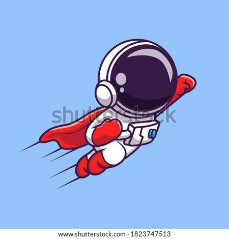 Cute Astronaut Super Hero Flying Cartoon Vector Icon Illustration. Science Technology Icon Concept Isolated Premium Vector. Flat Cartoon Style