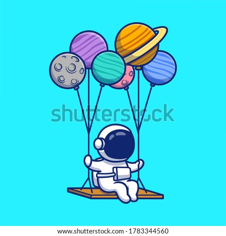 Cute Astronaut Swinging With Planets Cartoon Vector Icon Illustration. Space Astronaut Icon Concept Isolated Premium Vector. Flat Cartoon Style