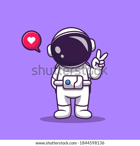 Cute Astronaut With Hand Peace Cartoon Vector Icon Illustration. Space Technology Icon Concept Isolated Premium Vector. Flat Cartoon Style