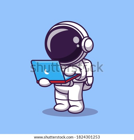 Cute Astronaut Working On Laptop Cartoon Vector Icon Illustration. Science Technology Icon Concept Isolated Premium Vector. Flat Cartoon Style