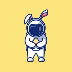 Cute Astronout Celebrate Easter Day. With An Astronout Hug Egg. REcomended For Easter Day, Childreen Book, And Other.