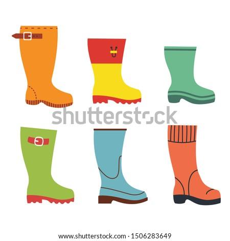 Cute autumn flat rubber boots set Foto stock ©