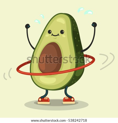 Cute Avocado cartoon character doing exercises with hula hoop. Eating healthy and fitness. Vector illustration isolated on background.