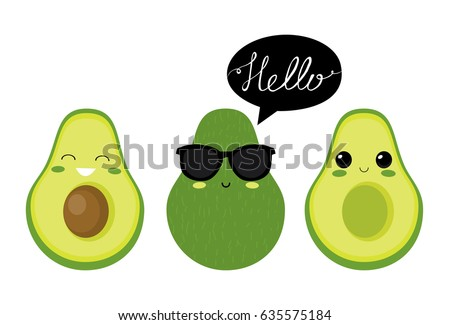Cute  avocado characters. Vector set