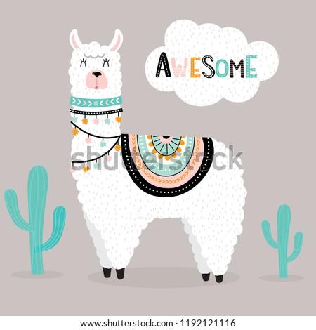 cute awesome llama with cactus