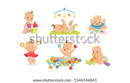 cute babies are playing vector