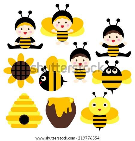 Cute babies in bee costumes. Black and yellow. Vector clip art.
