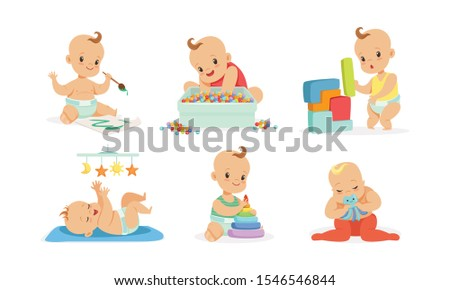 cute babies play and draw