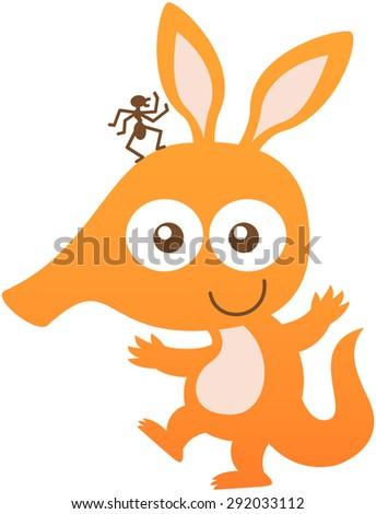 cute baby aardvark with orange