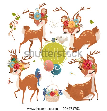 Cute baby animal deer with floral wreath, tied bow, bird and a basket with balloons and flowers set